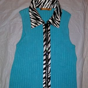 belidini Tops - Sleeveless zip up collard top